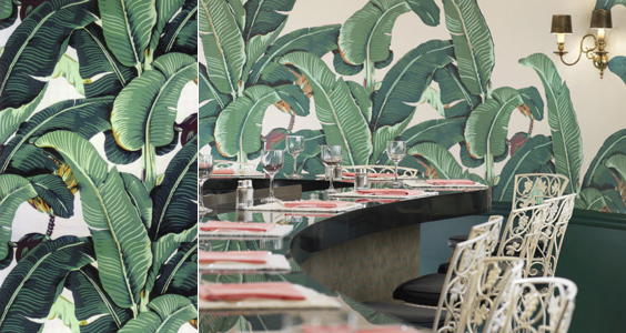 hinson martinique banana leaf wallpaper beverly hills palm beach chic room