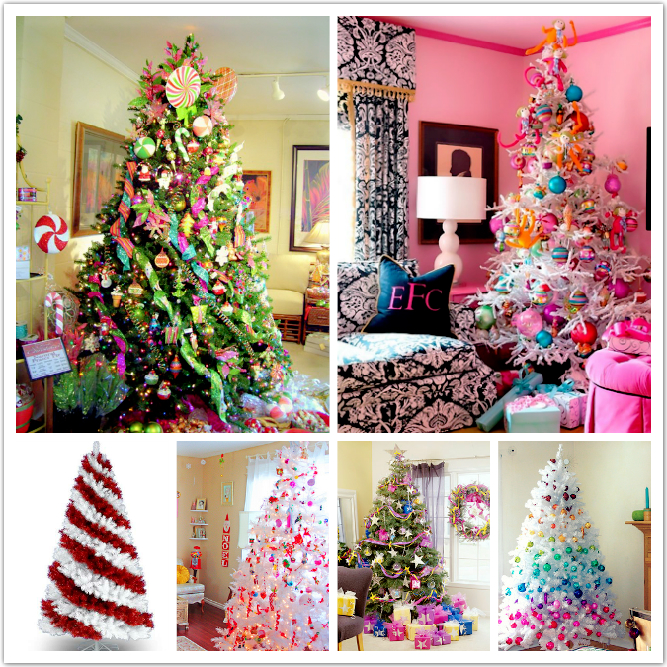 colorful christmas tree decorating